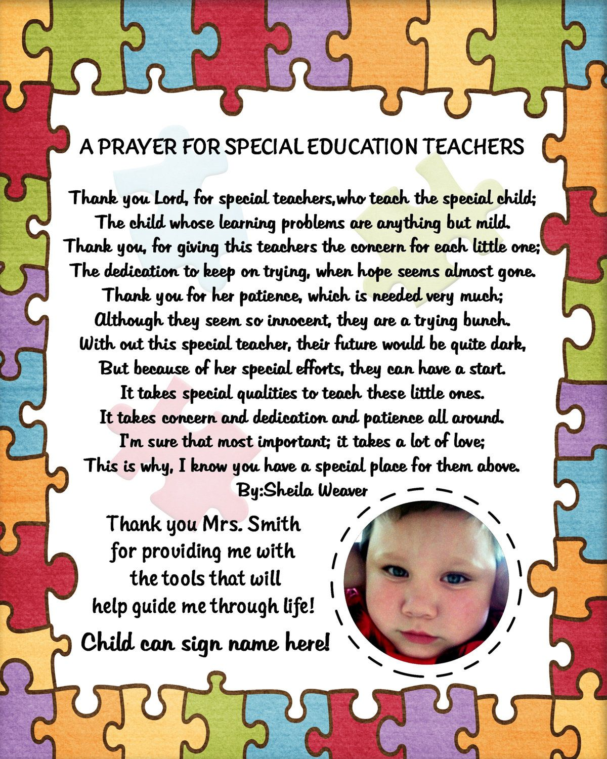 Personalized Autism Special Needs Teacher The Thank You Reciation Photo Poem Printable 8x10 All Proceeds Go To Awareness