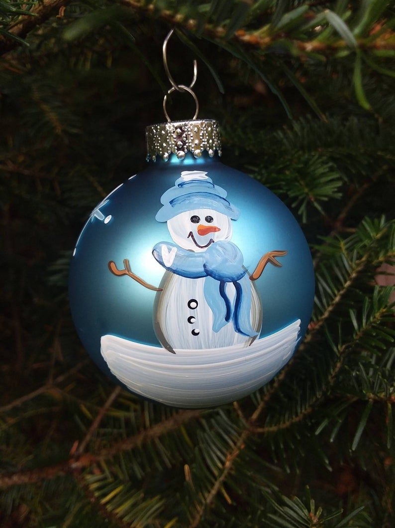 Baby's First Christmas Personalized Snowman Ornament ...
