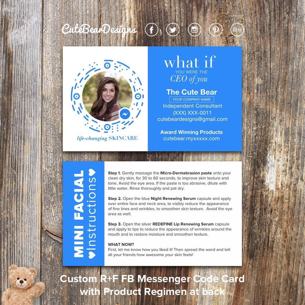 Rodan and fields business cards r and f cards rf rodan business explore mini facial facebook messenger and more colourmoves