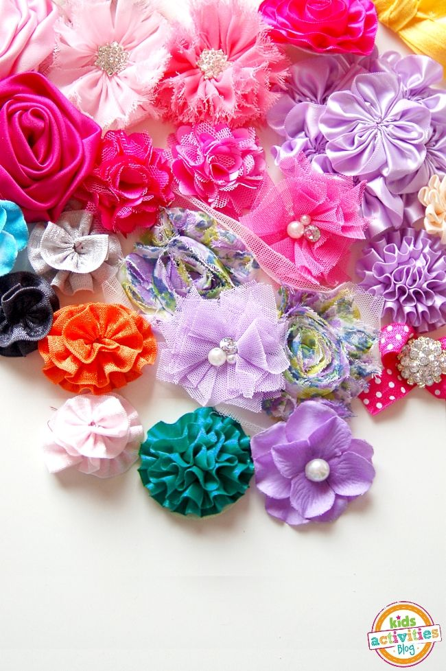 How To Make Flowers Out Of Ribbon For Baby Headbands : flowers, ribbon, headbands, Ribbon, Flowers, Activities, Headband,, Ribbon,, Flower, Tutorial