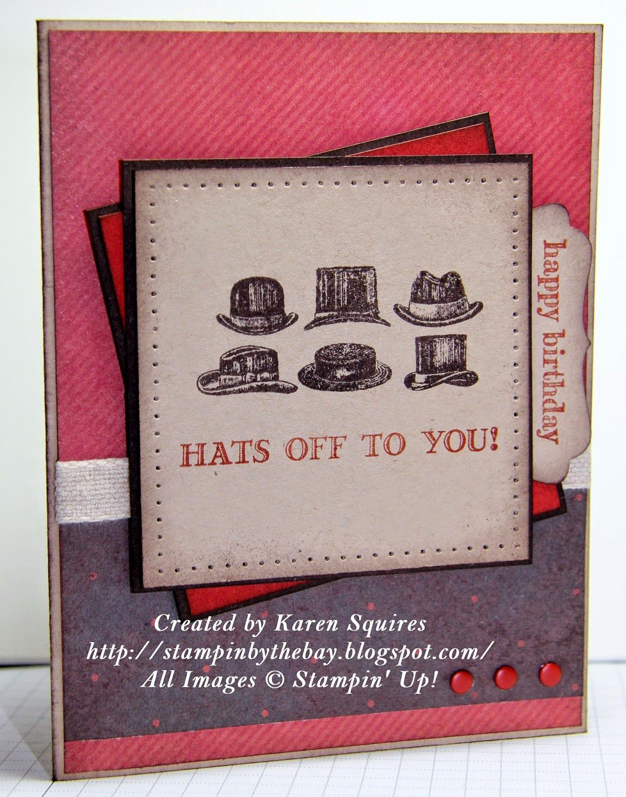 Stampin By The Bay Hats Off To Guy Greetings Masculine Cards Male Cards Inspirational Cards