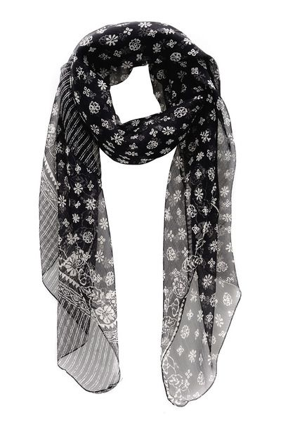 Flowers Black White Scarf by Dolce & Gabbana
