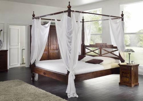 Koloniastil Himmelbett 200x200 massiv Akazie Holz OXFORD #247 - schlafzimmer bett 200x200