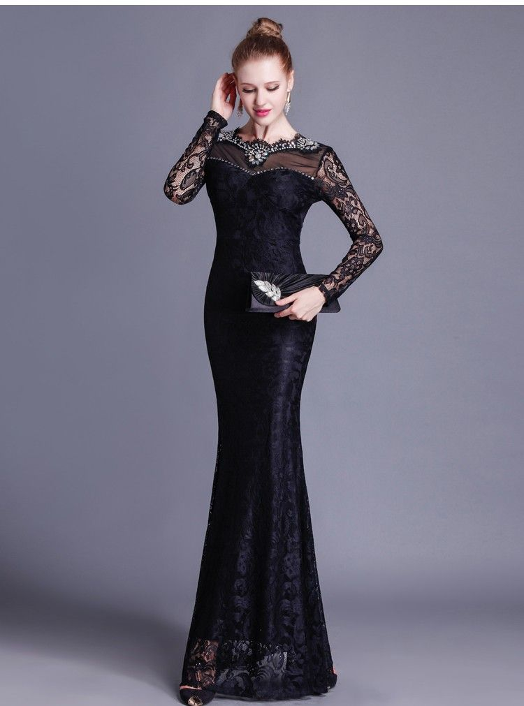 5dedf9412c Gorgeous Mermaid Open Back Long Sleeve Black Lace Beaded Special Occasion  Evening Dress