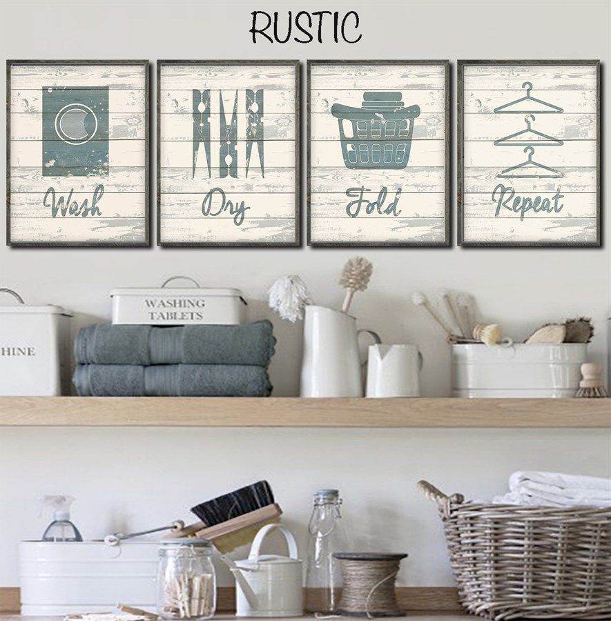 Set of 4 Rustic Chic Laundry Prints