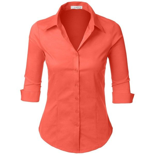 1d835865f8d LE3NO Womens Roll Up 3 4 Sleeve Button Down Shirt with Stretch (97 ...