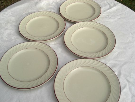 Items similar to Delco China Heavy Restaurant Ware Sculpted Swirl Red Rims Tableware Luncheon Plates - Set of 5 on Etsy & Delco China Heavy Restaurant Ware Sculpted by MarieWarrenArts ...