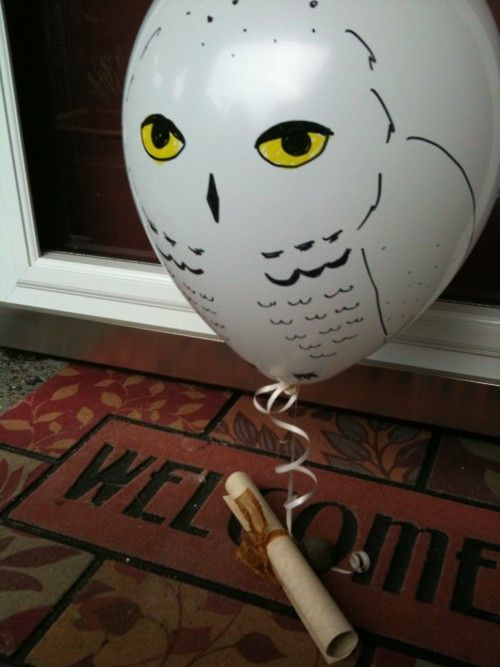 Harry Potter party invites via owl delivery!