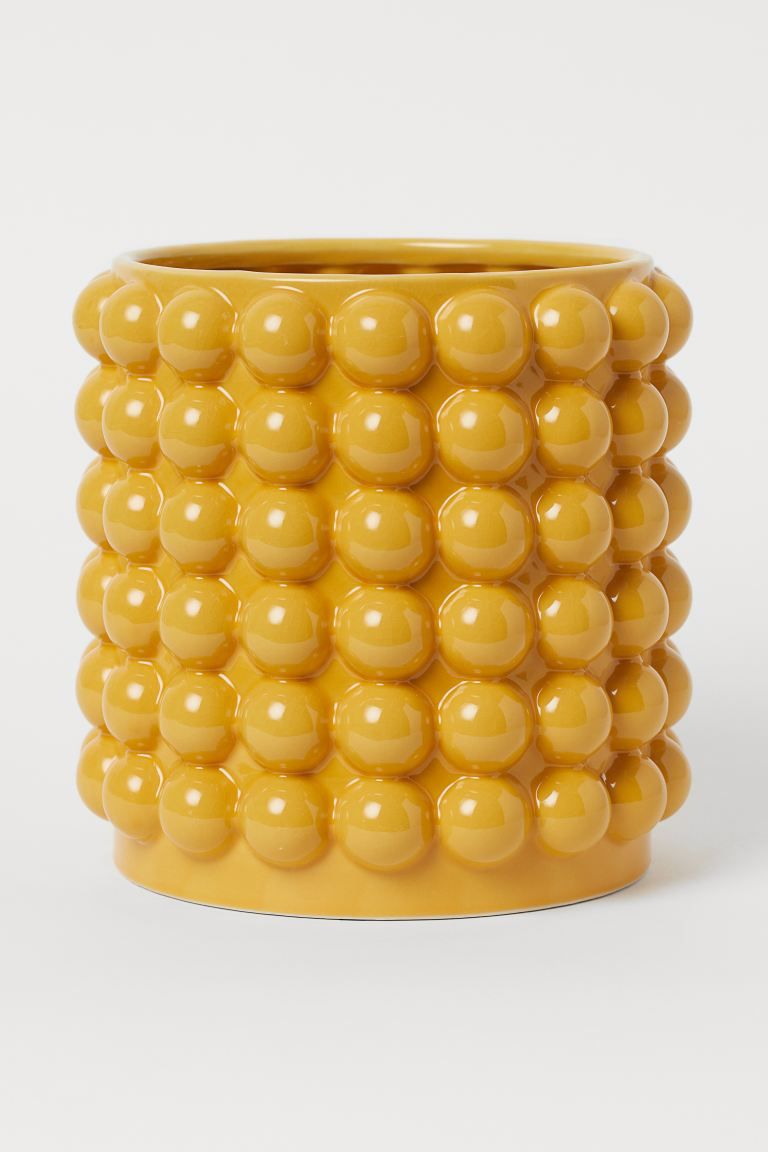 Large Bubbled Plant Pot Yellow Home All H M Gb In 2020 Large Plant Pots Bubbles Large Plants