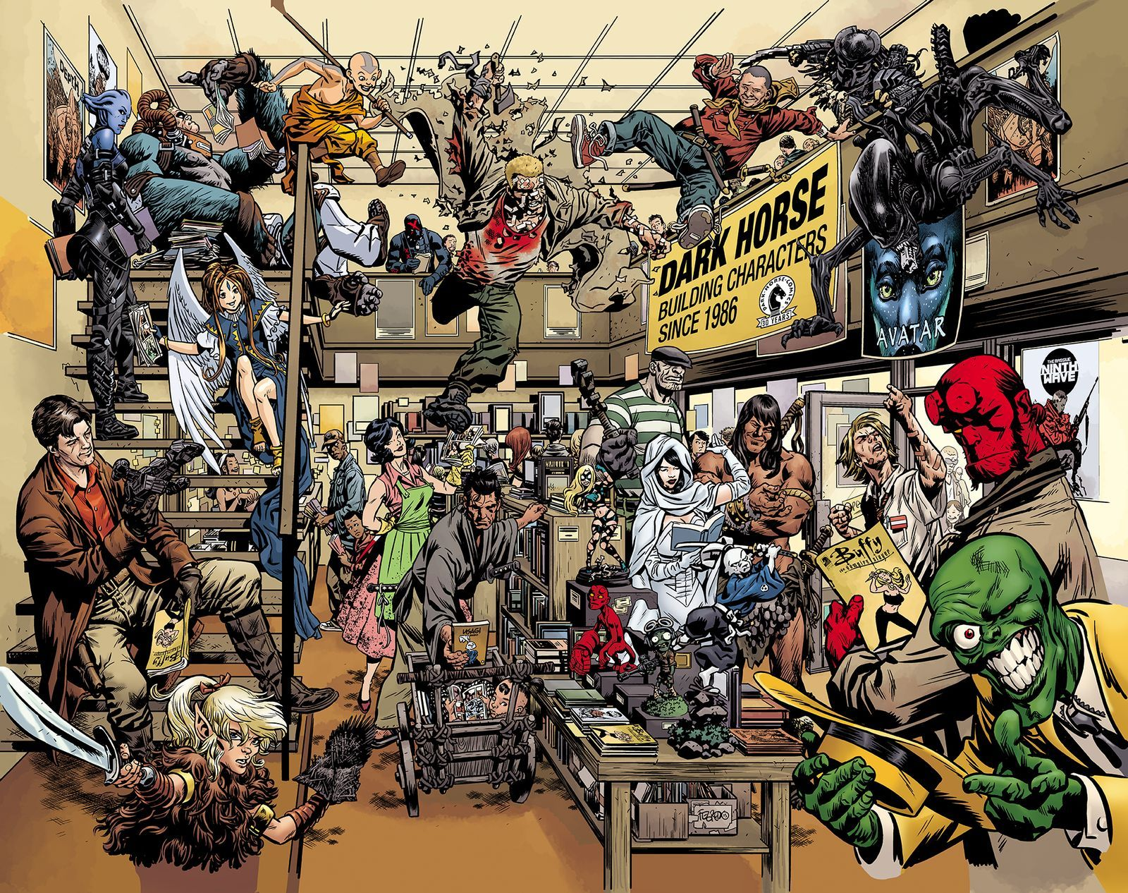 Can you name every character in this giant Dark Horse Comics mural ...