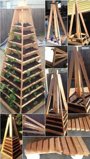 today in how to how to build a vertical garden pyramid tower gardening projects pinterest. Black Bedroom Furniture Sets. Home Design Ideas