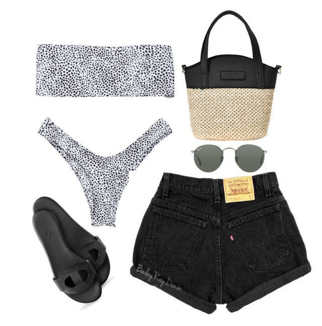"""Untitled #5350"" by theeuropeancloset ❤ liked on Polyvore featuring Ray-Ban #highwaistedbikinis #swimwear#bikini#beach#style"