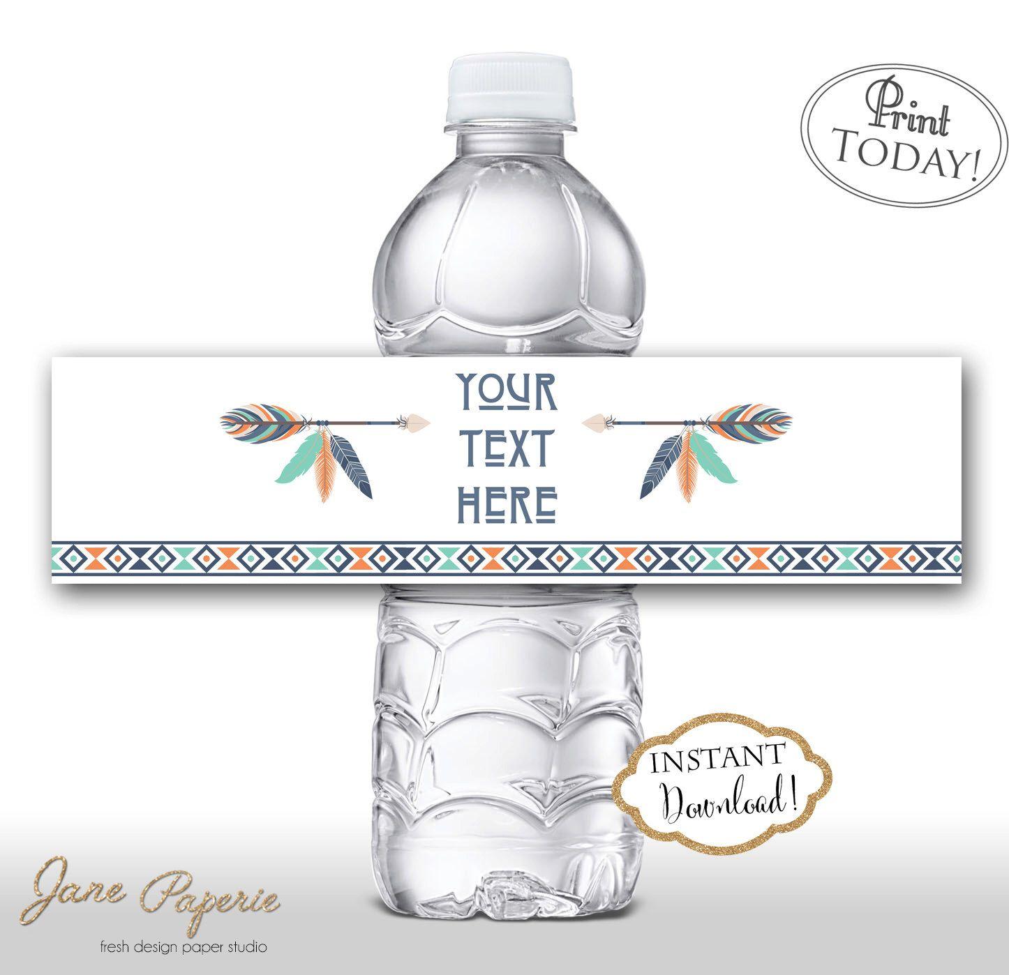 Instant Download Feather Arrow Boho Water Bottle Labels