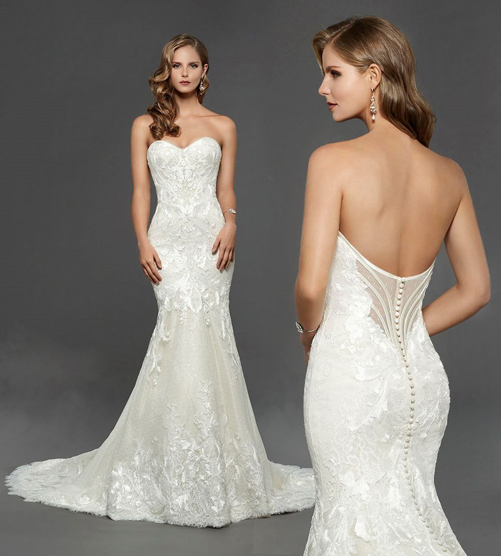 Matthew christopher claire lace and sequin fit to flare bridal