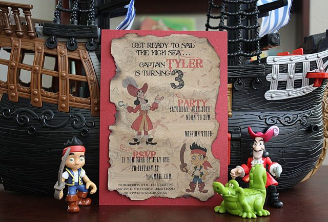 Parker and Ty: Jake and the Neverland Pirates Party Invitation and Book Donation