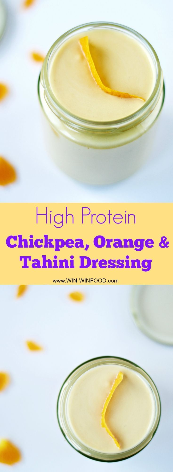 High Protein Chickpea, Orange & Tahini Dressing | WIN-WINFOOD.com Protein packed, oil-free and #lowfat but still super thick and velvety creamy salad #dressing! #vegan #plantbased #glutenfree #oilfree #soyfree