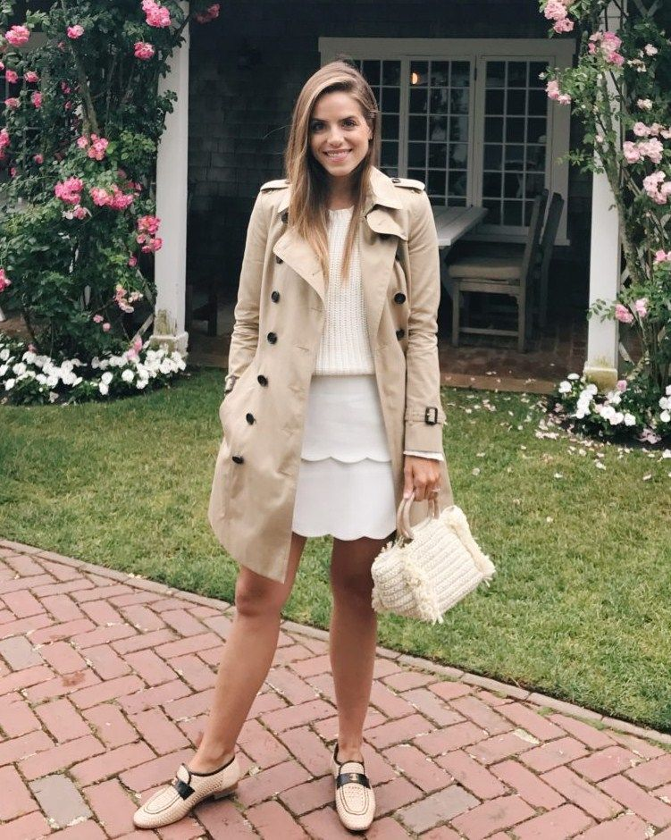e98524f94 7.17 daily look (Burberry  the kensington  mid trench coat + 360 Cashmere   shelton  sweater in chalk + Club Monaco scalloped skirt + Chanel loafers +  ...