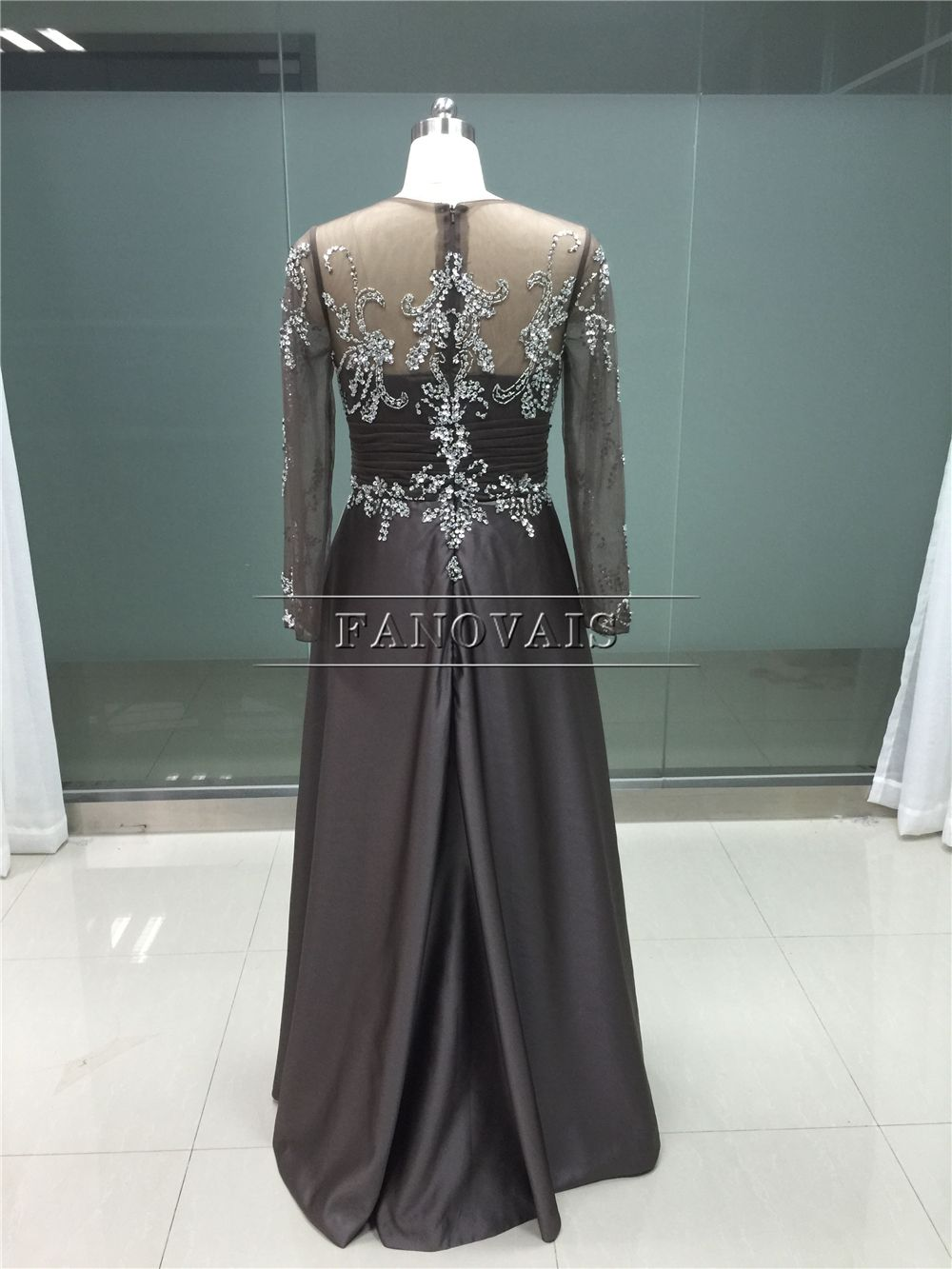 Real photo elegant brown mother of the bride dresses long sleeves
