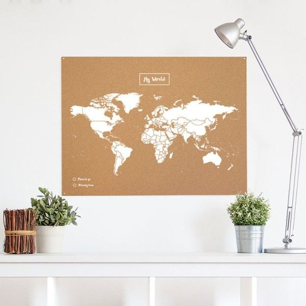 Cork world map white  Carte du monde en liège blanche  made in