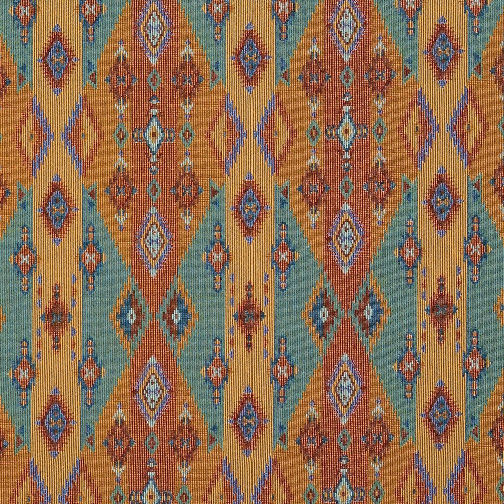 Bright Southwestern Stripes And Diamonds Woven Upholstery Fabric By