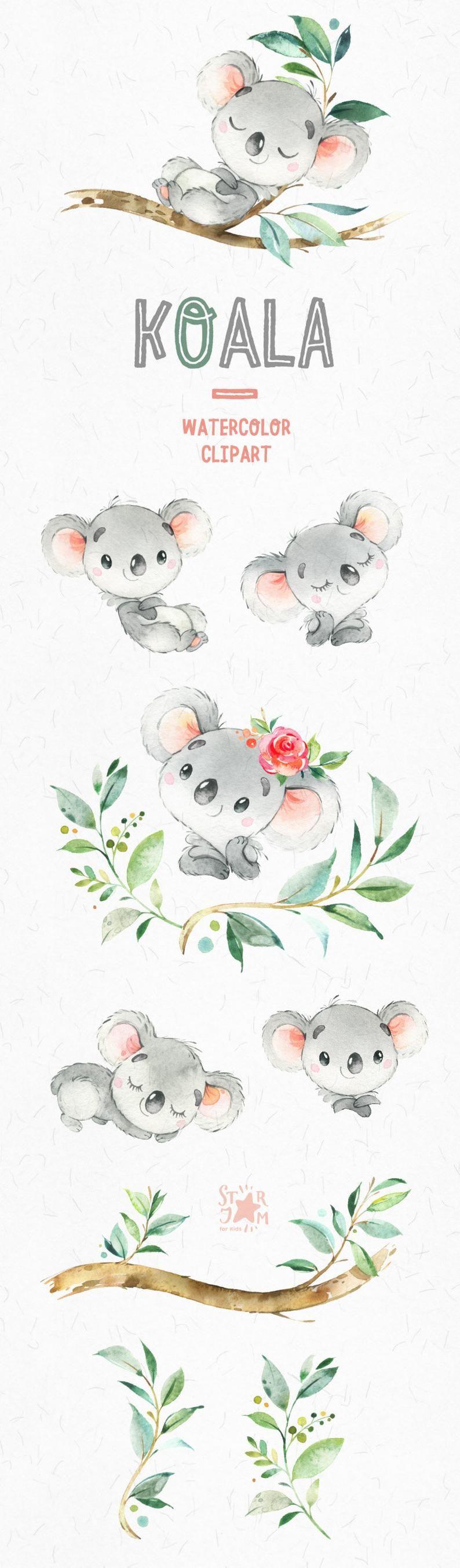 Koala. Little animals watercolor clipart Australia koala | Etsy