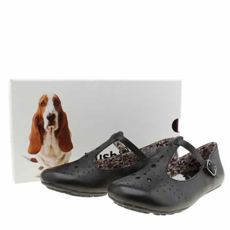 Womens Black Hush Puppies Janessa T Bar Punch Flats Kid Shoes Shoes Black Flats Shoes