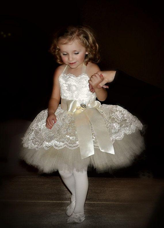 flower girl dress, adorable ivory lace flower girl tutu dress