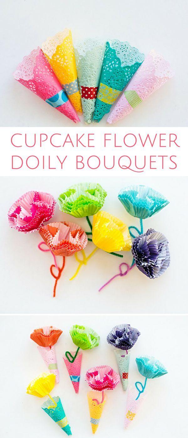 Diy cupcake liner flower doily bouquets cute spring craft for diy cupcake liner flower doily bouquets cute spring craft for kids or handmade paper flower jeuxipadfo Gallery