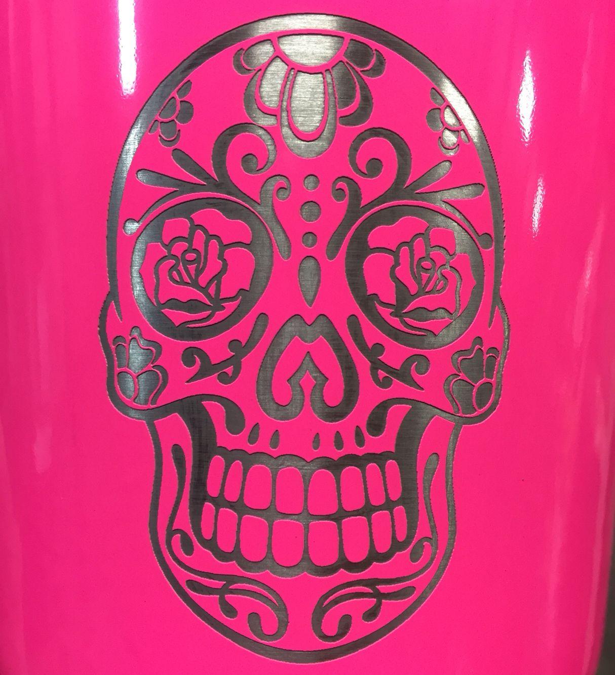 Laser Engraved Sugar Skull On Neon Pink Powder Coat Custom YETIs - Sugar skull yeti cup
