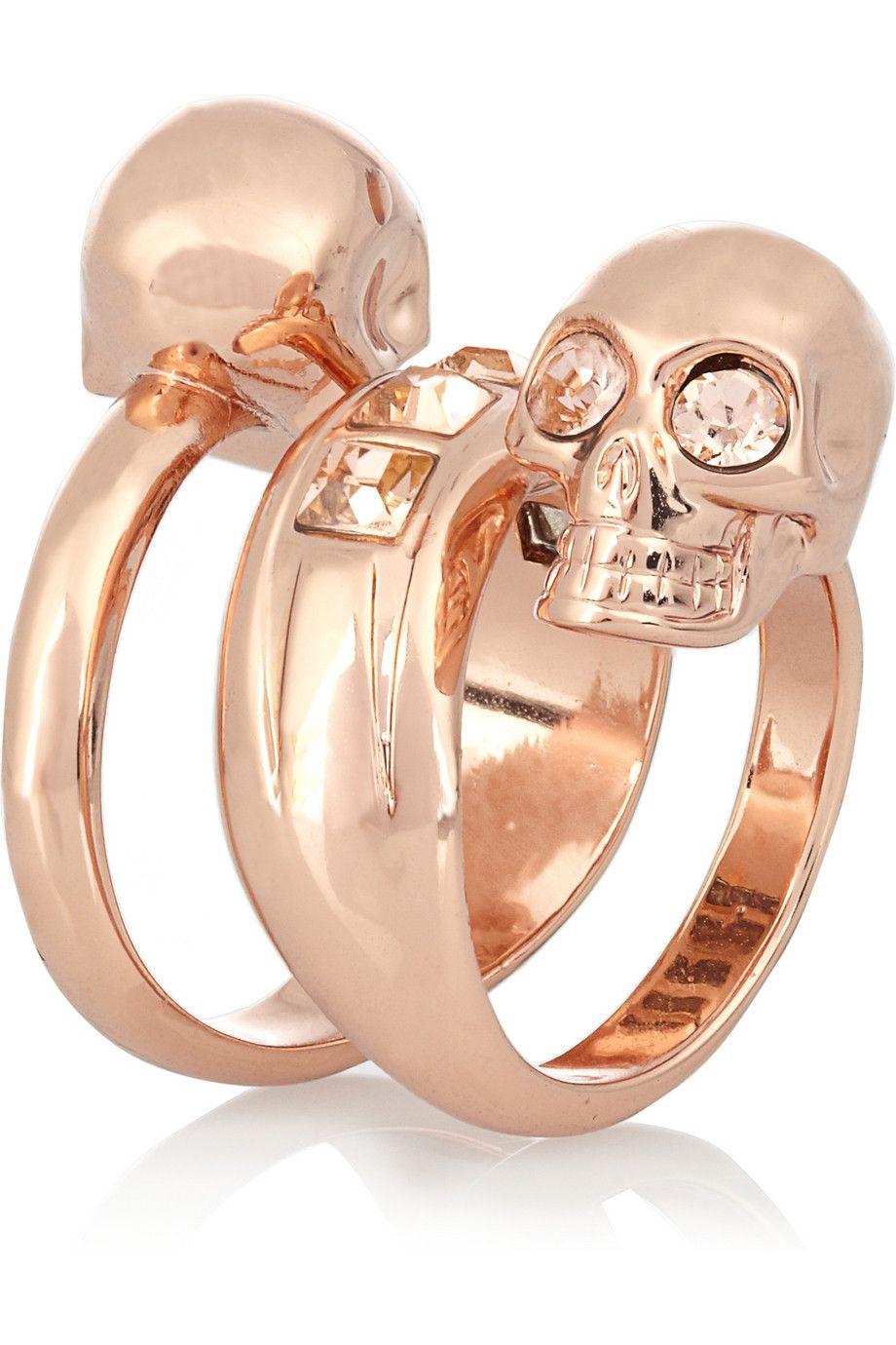 ALEXANDER MCQUEEN Swarovski crystal double-skull ring ... bcb9f67d949