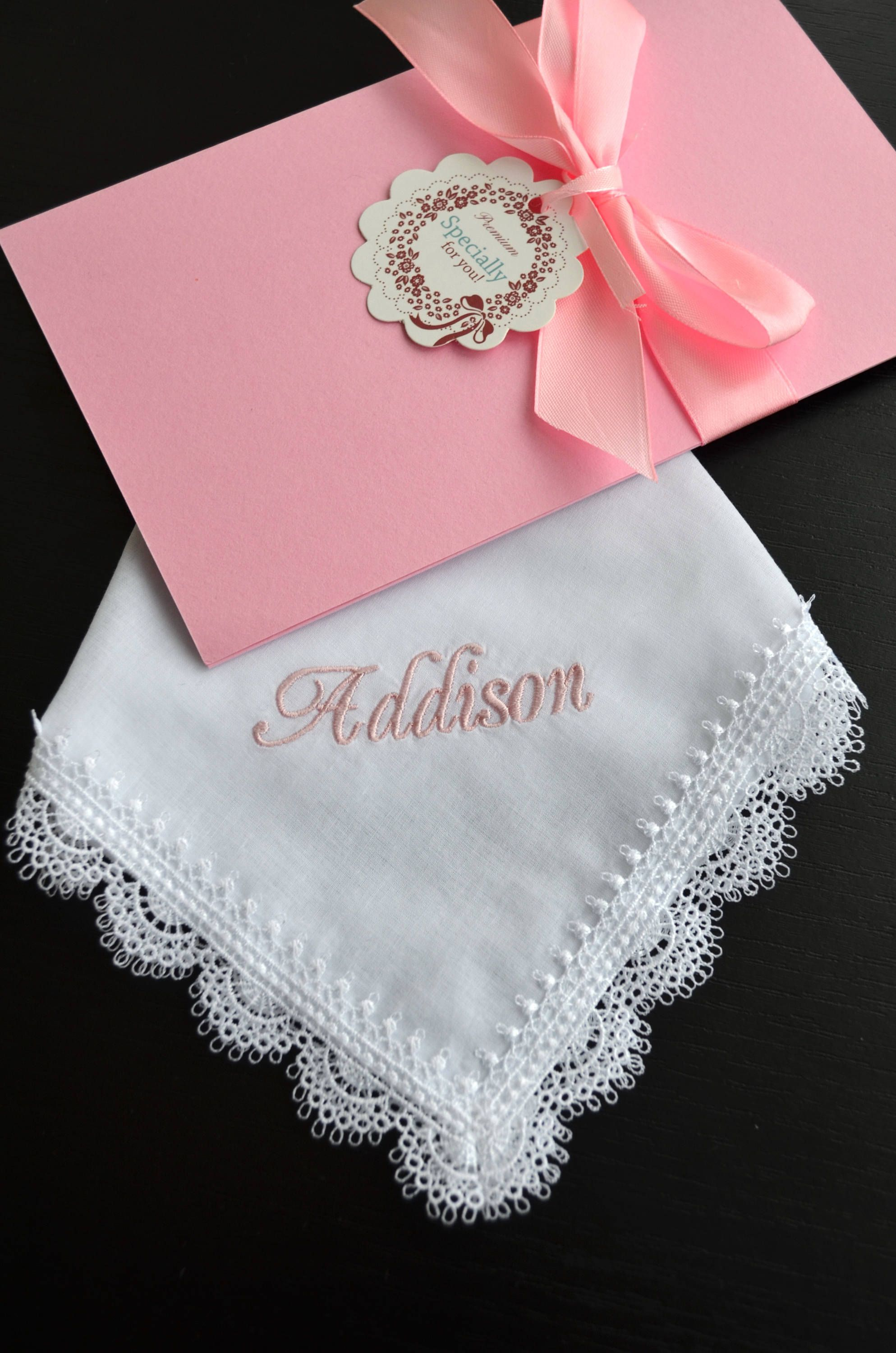 Flower girl handkerchief Made of honor gift Bridesmaids\' gifts Pink ...