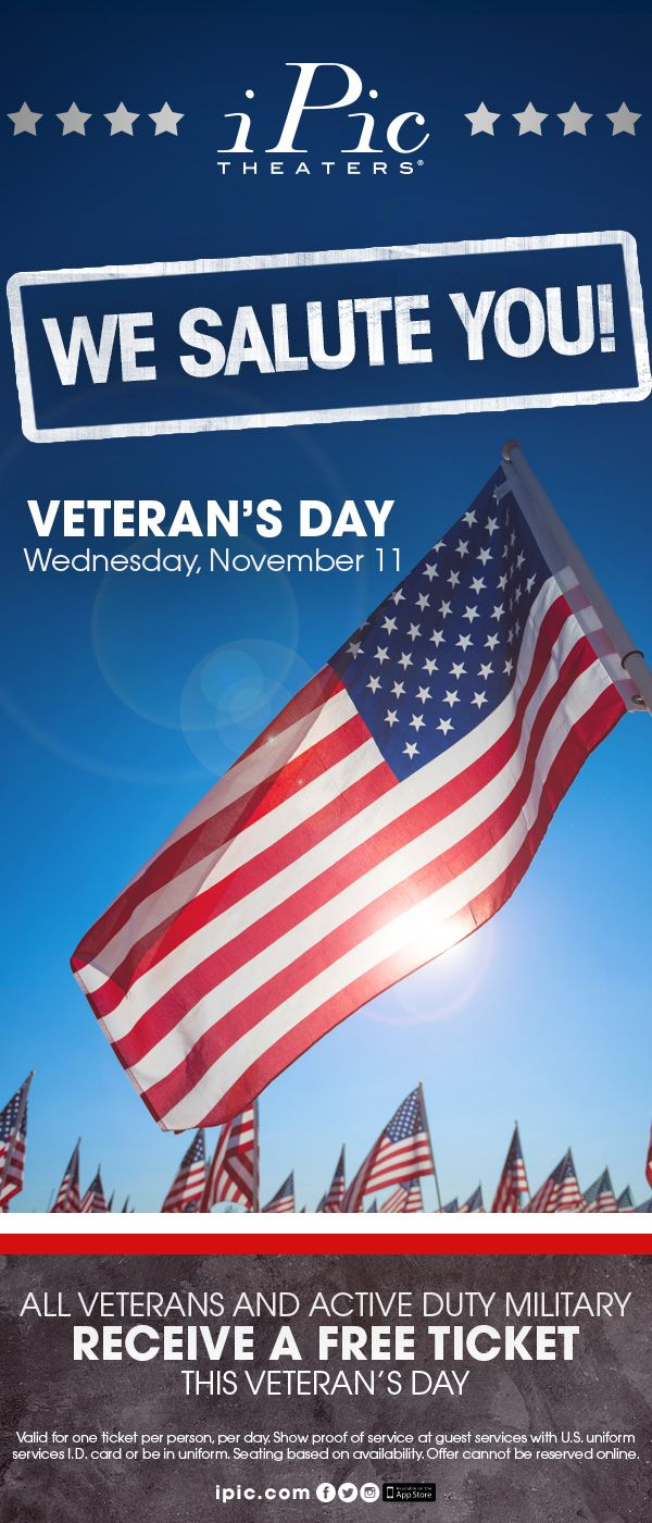 A Free Ipic Theater Ticket For All Veteran Active Duty Military