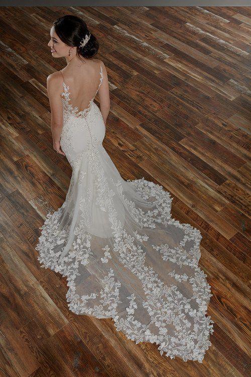 Fit-and-Flare-Hochzeitskleid-Idee – Spitzenhochzeitskleid mit offenem Rücken – Style 105 …