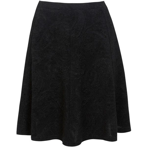 Miss Selfridge Paisley Skater Skirt (165 HKD) ❤ liked on Polyvore featuring skirts, black, black skater skirt, black circle skirt, paisley skirt, skater skirt and black skirt