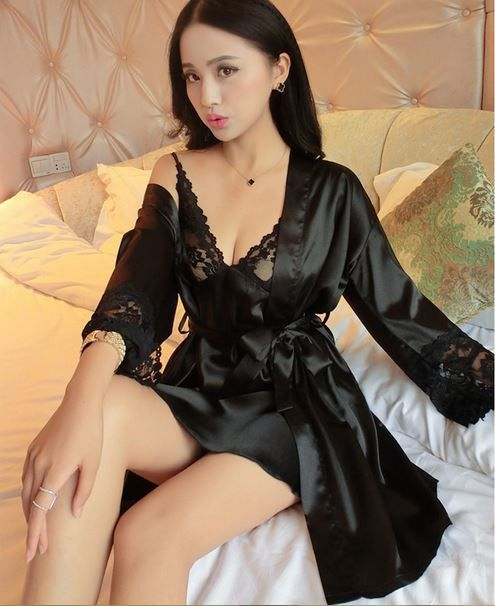 c6bd419184 2016 new arrival 2 pcs lace robe+nightgown silk imitation women pajamas  sexy lace robe sets plus size women cardigans