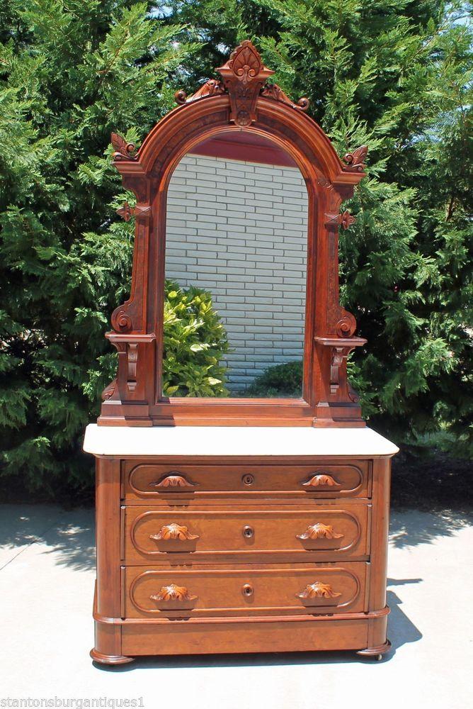 Renaissance Revival Victorian Walnut Marble Top Dresser W