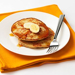Banana-Nut Protein Pancakes...6 ingredients: banana, oats, cottage cheese, egg whites, vanilla, & walnuts or pecans. I just mix the batter in my little blender (like the magic bullet), pour right into the skillet. Make sure you spray your skillet.