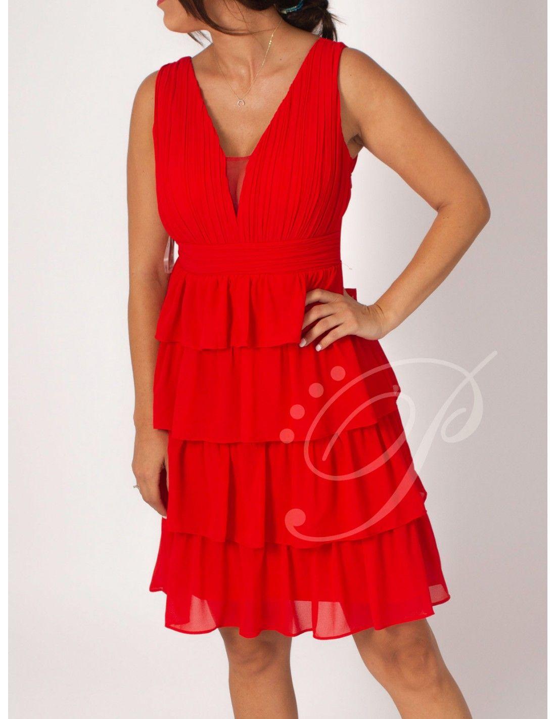 e8ae375d4 Vestido Shara Rojo - Vestido corto en color rojo. Escote en pico. Plisado en