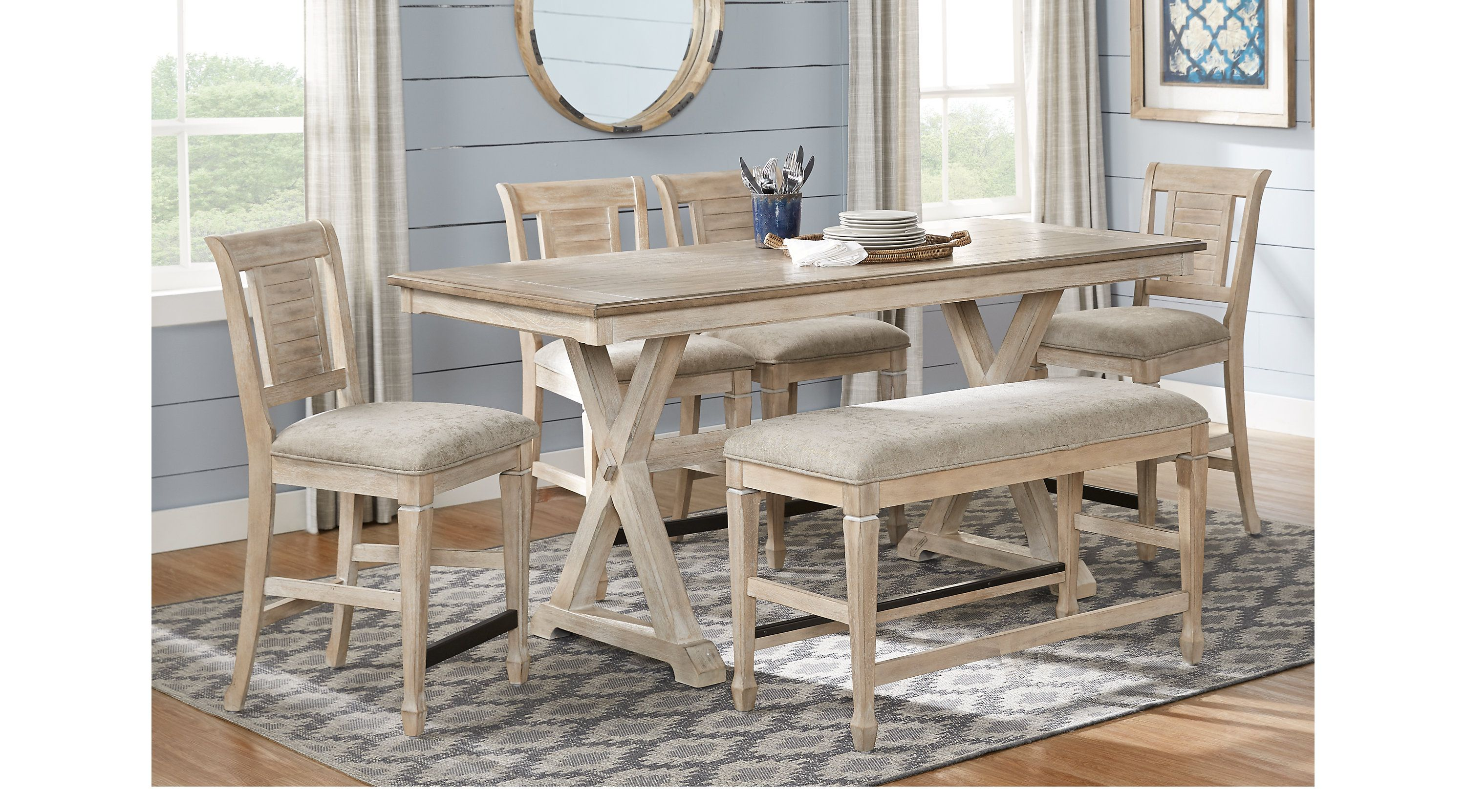 Nantucket Breeze Bisque 3 Pc Counter Height Dining Room Dining Room Sets Light Wood Dining Room Sets Affordable Dining Room Sets Counter Height Dining Table