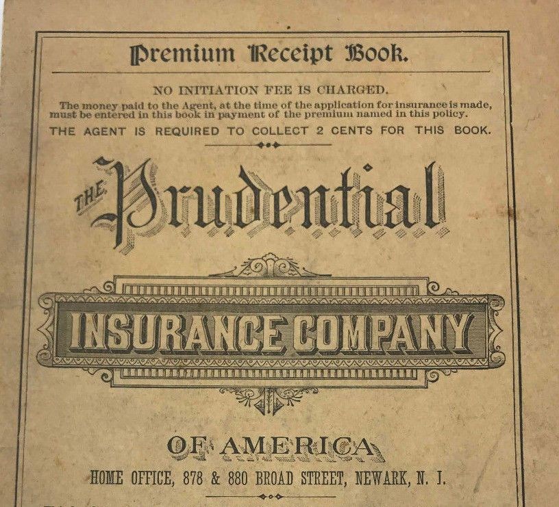 Antique 1887 Prudential Insurance Company America Policy Receipt Book Newark Nj