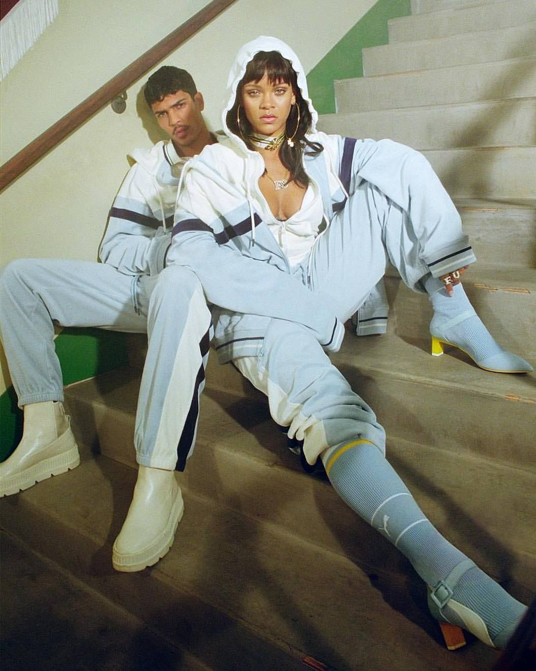 Obsession is not even a strong word when it comes to @badgalriri and her personal style. How can it be that she has us wanting a powder blue his and hers velour tracksuit? It happened though. The #FENTYxPUMA is the best sports wear colab in the game. Then you add the jewels... Extra #mondaymotivation to have the #FU attitude and body positivity that Rihanna does. #rihanna #fashion #sportswear #fenty #jewllery #yes #puma #heels #powderblue #barbados #beauty #empire #midastouch