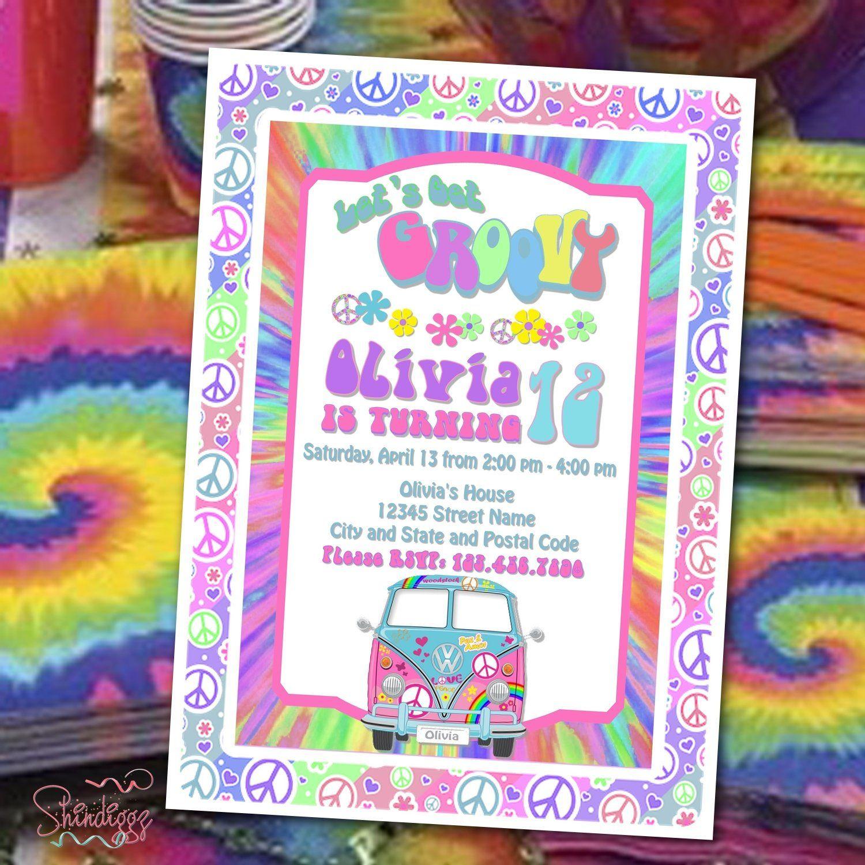 Retro Birthday Invitation, Hippie Birthday Party, 60's
