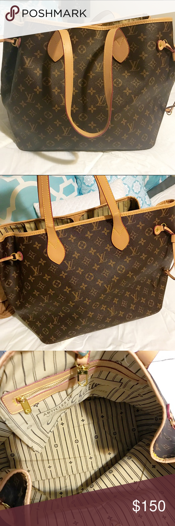 LV Neverfull MM Monogram Brand New Neverfull MM Size👜 Not Authentic 🚫 Comes w/ Dust Bag. Great Quality!!! 👌🏽Let's be real ladies, plenty of us (including me🙋🏼)  can't afford a $1,800 LV handbag but, w/ a great replica no one will even know 😉 Louis Vuitton Bags Totes