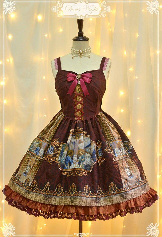 [-✙❤-Prophecy Poem-❤✙-] Vintage Chiffon Lolita JSK
