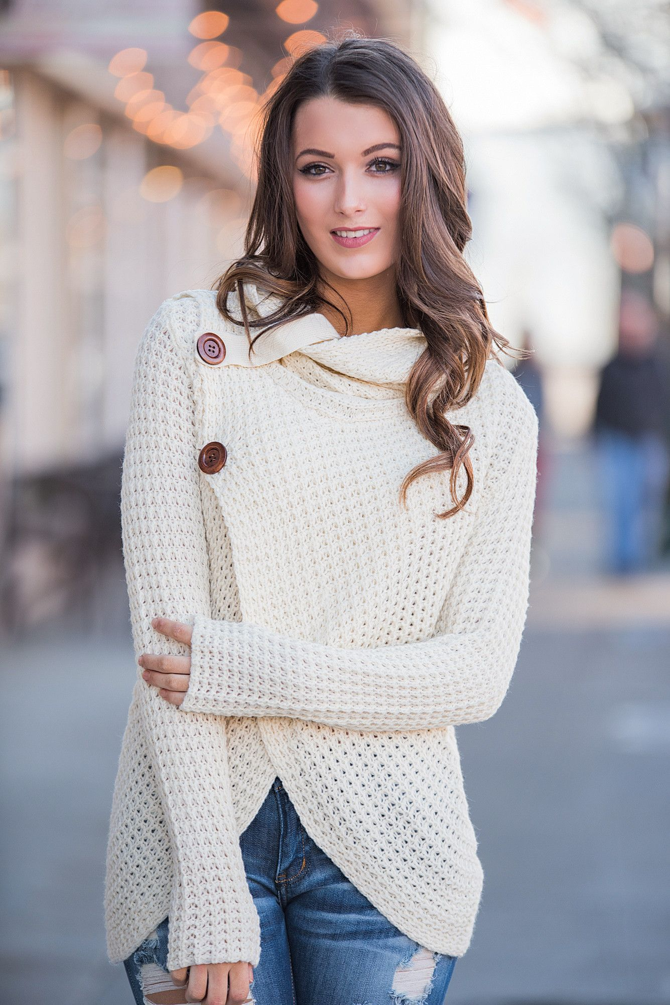 Cowl It Love Knit Button Detail Cowl Neck Sweater (Ivory) | Cowl ...