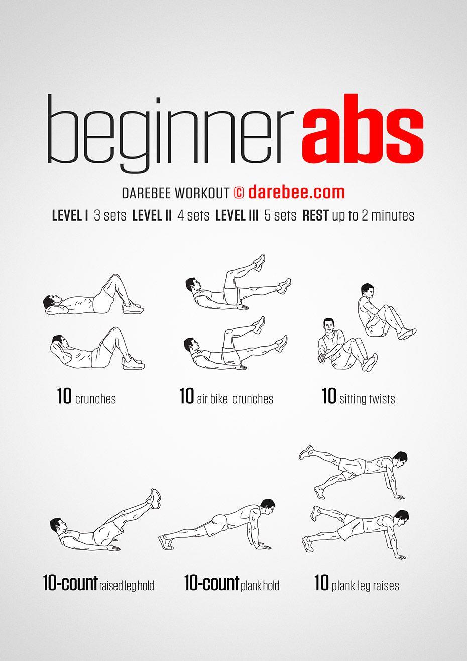 Beginner Abs Workout Gym Workout For Beginners Beginner Ab