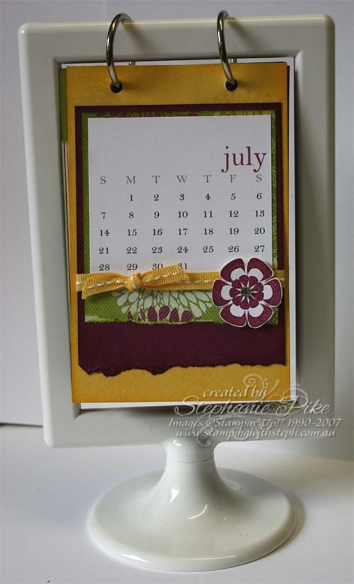 July IKEA calendar using Stampin\' Up! products www.stampingwithsteph ...