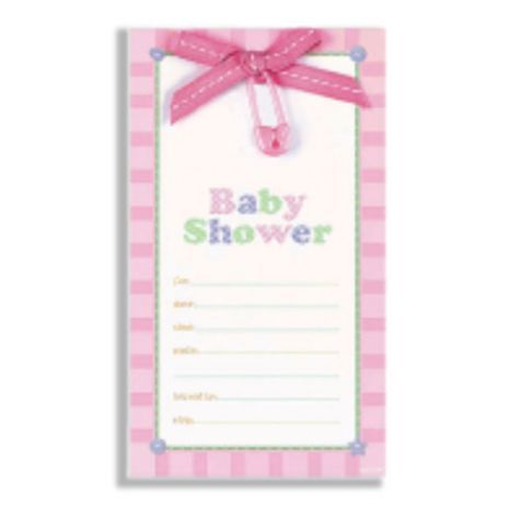 Pink Safety Pin Baby Shower Embellished Invitations 8ct Showers Categories Party City