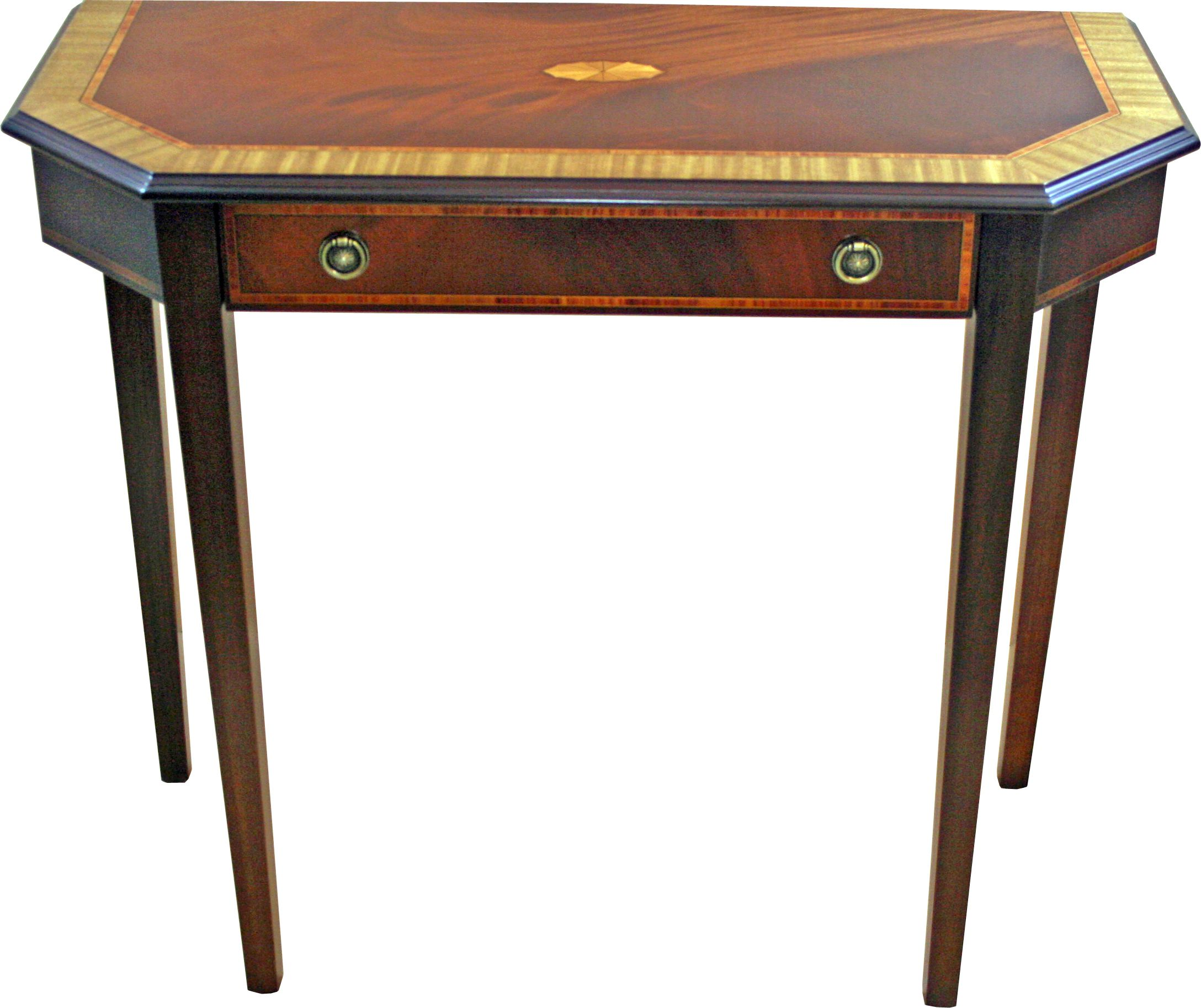 Mahogany Hall Table With Fan Marquetry And Tulip Inlays This Stunning Table Also Features A Beautiful Satinwood Furniture English Furniture Bespoke Furniture
