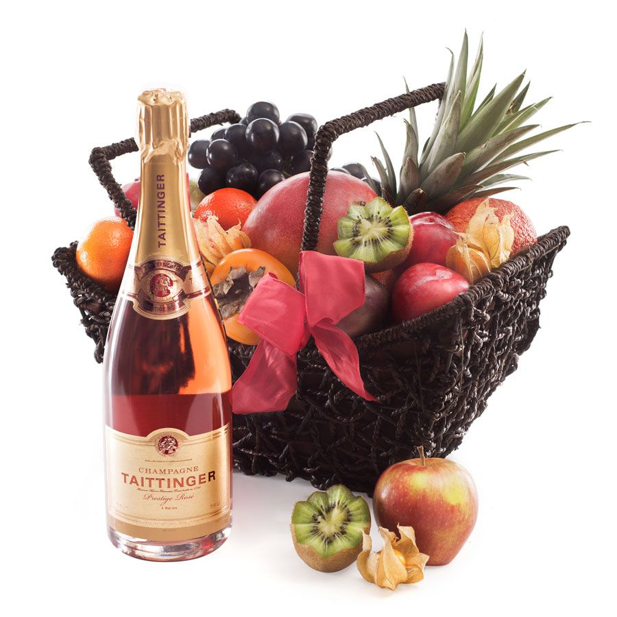 Fruit Hamper With Taittinger Champagne Fruit Hampers Food Display Taittinger Champagne